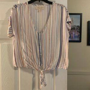 Cloth & Stone Small Striped Button Tie V Neck